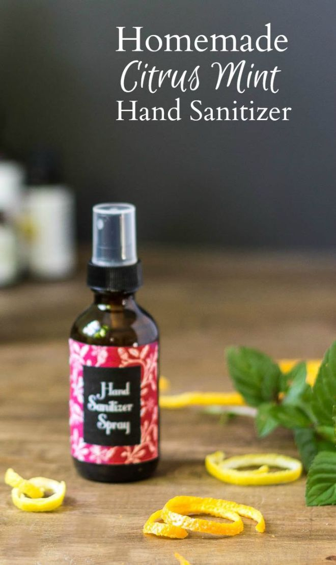 Homemade citrus mint hand sanitizer spray aloe vera