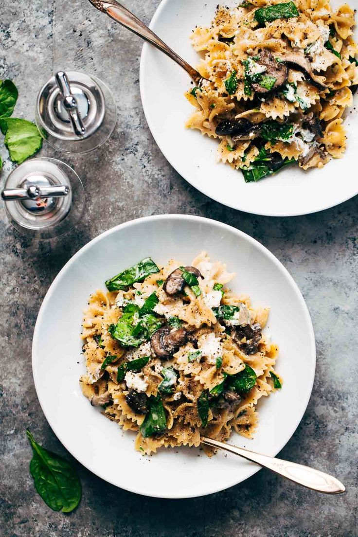 Date Night Mushroom Pasta with Goat Cheese – a simple, romantic meal involving white wine, mushrooms, spinach, pasta, and goat