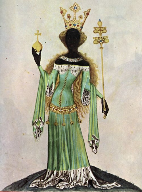 Medieval depiction of the Queen of Sheba. Idea from legend!: