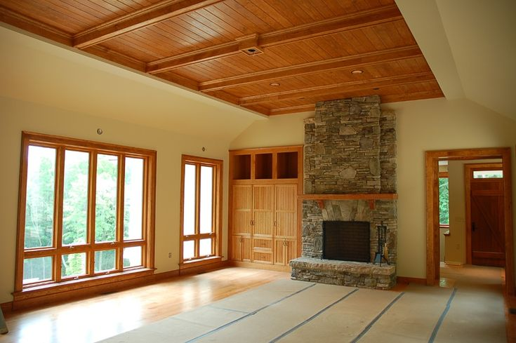 Cherry Stained Pine Trim Fireplace Stone Eagle
