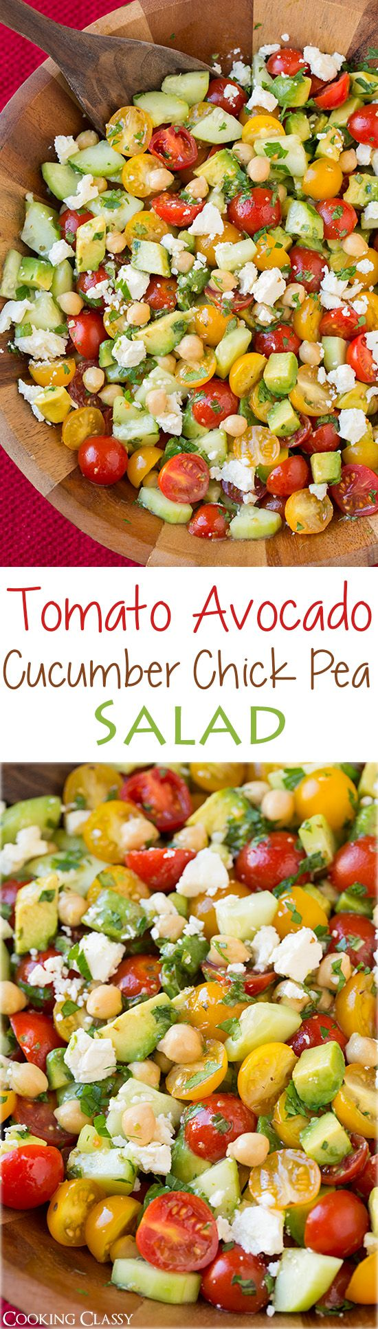 Tomato Avocado Cucumber Chick Pea Salad with Feta and Greek Lemon Dressing - LOVED the flavor of this salad! I ate two bowls of it for lunch!: