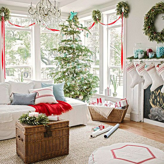 I love this fresh combo: red, white & aqua for Christmas!: