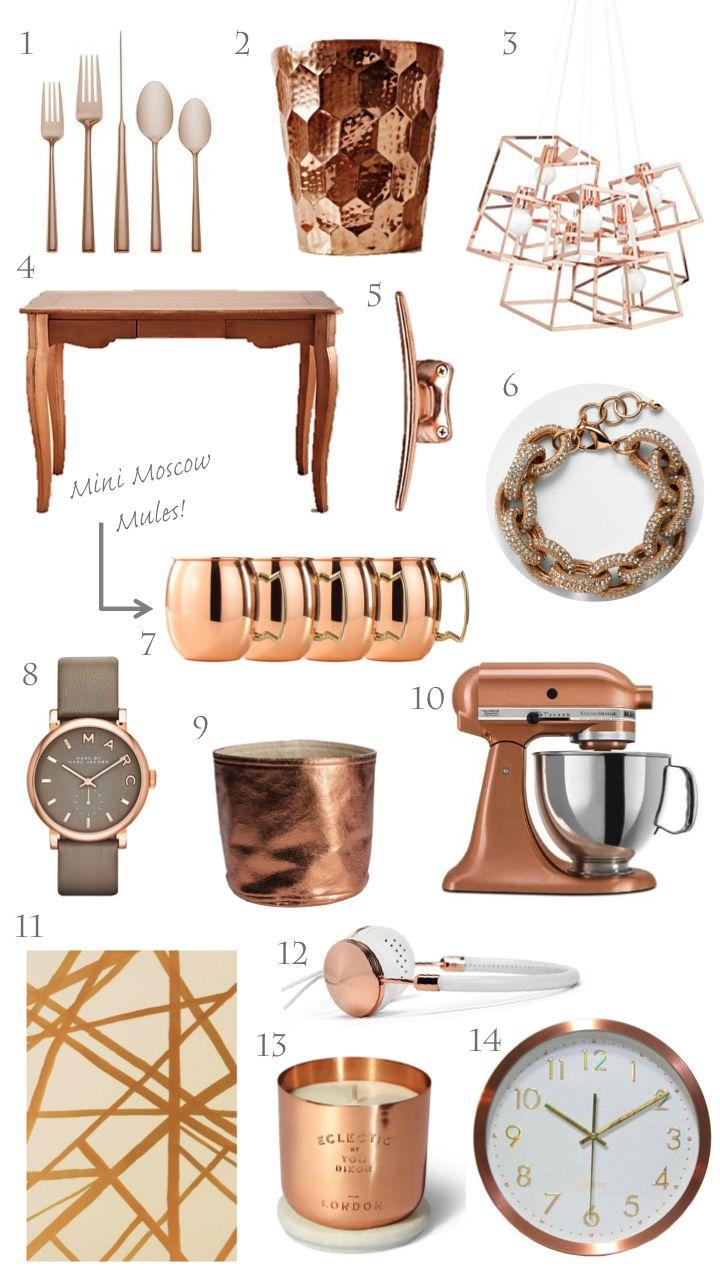 trending: copper, rose gold, home decor
