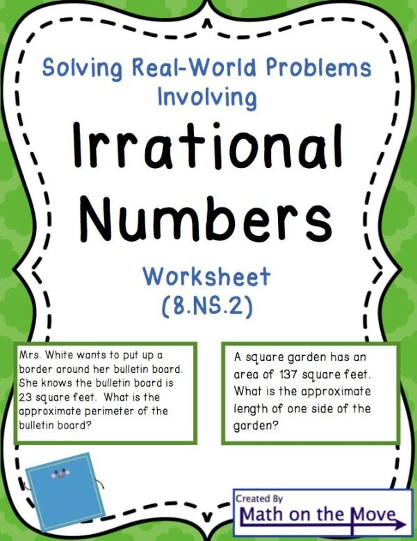Irrational Numbers and Real World Problems - Worksheet (8 ...
