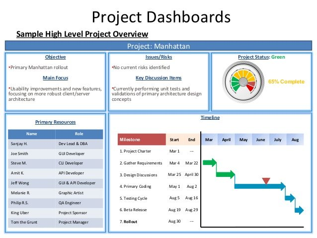Project Dashboards Sample High Level Project Overview Project Manhattan Objective IssuesRisks