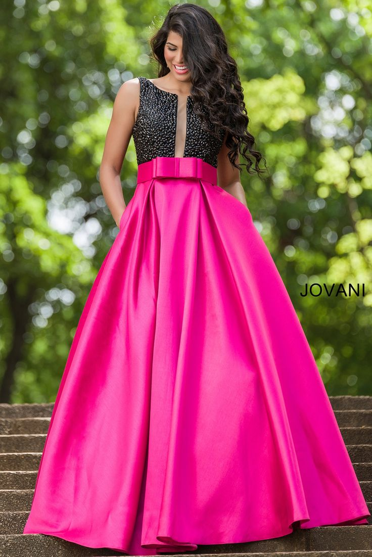 Stunning Two Tone A Line Gown With Black Beaded Top And