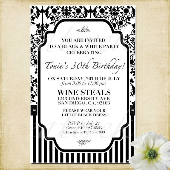 Customizable Black and White Party Invitation  by KreativeKits, $10.00