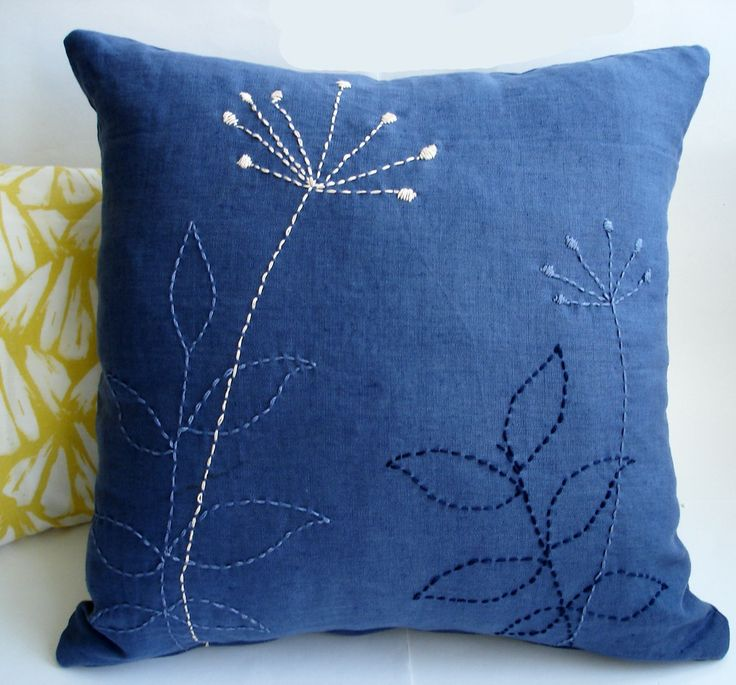 Sukan 1 Linen Pillow Covers Navy Blue Hand By Sukanart