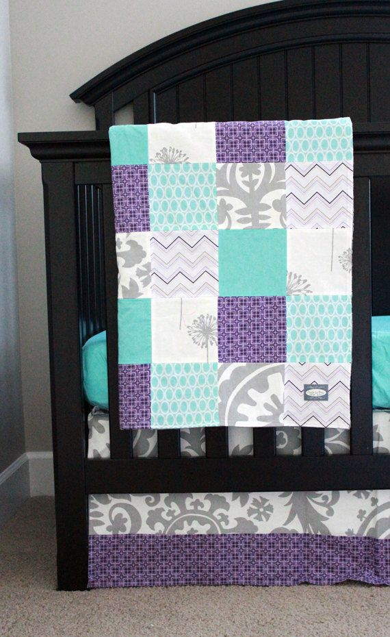 Custom baby bedding Aqua Purple and Grey by GiggleSixBaby on Etsy *Love this color scheme…bedroom perhaps?