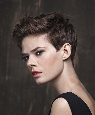A Short Brown Straight Tomboy Hairstyle By Trevor Sorbie