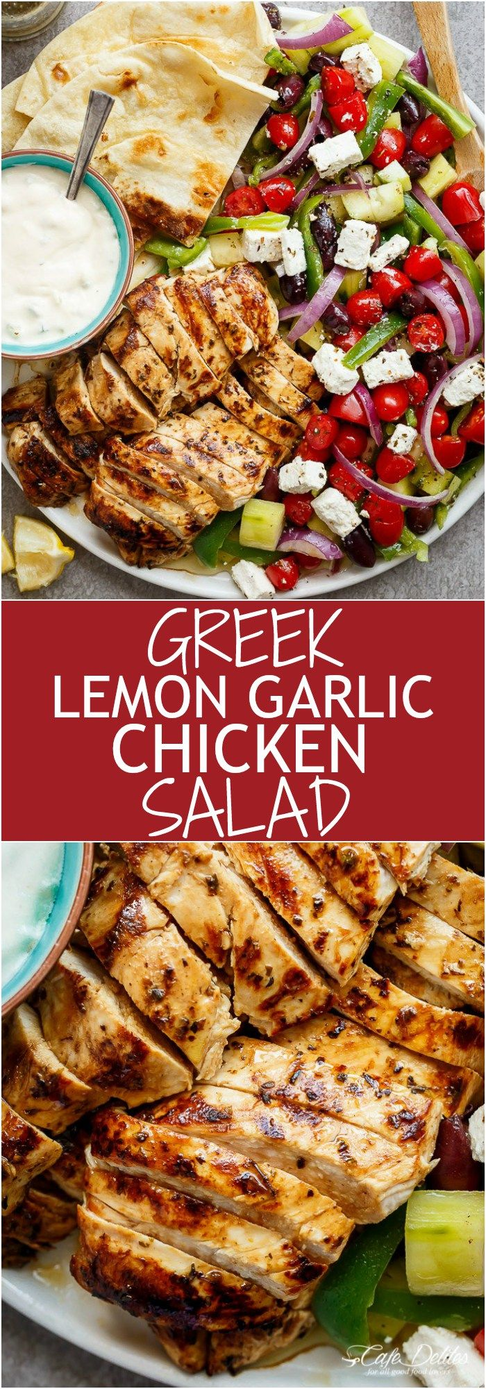 Greek Lemon Garlic Chicken Salad with an incredible dressing that doubles as a marinade! Complete with
