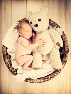 fun to use the same bear in monthly photo from newborn to age 1 (or higher)… shows baby's growth