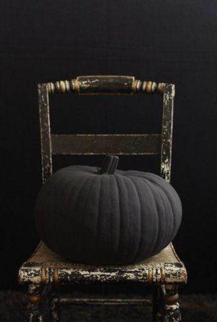 black painted pumpkin