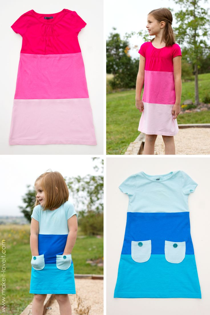 Make a Color-Block Dress with pockets (…from old Tshirts) — Make It and Love It