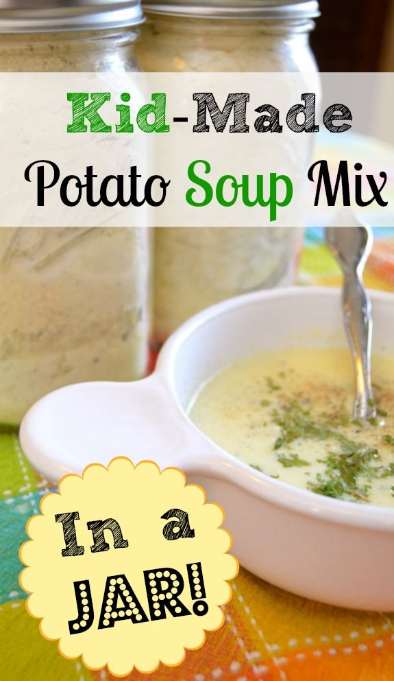 Kid project! This potato soup mix is an easy homemade gift the kids can make, and it is very tasty.  What a great time-saver to