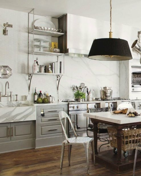 French Industrial Country Kitchen Grey Cabinets