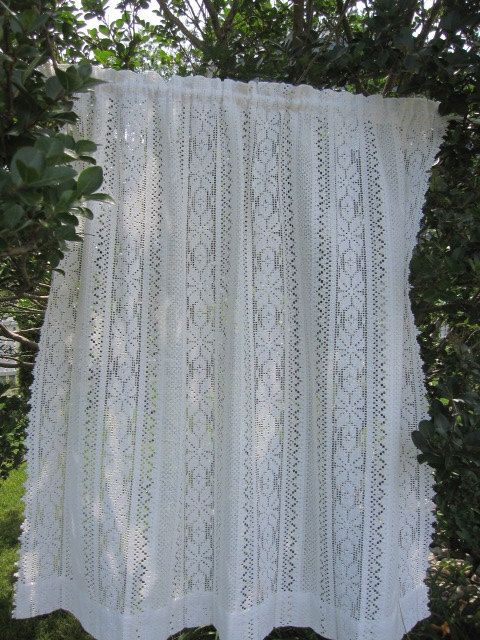 17 Best Images About Vintage Lace Curtains On Pinterest Macrame Set Of And Lace