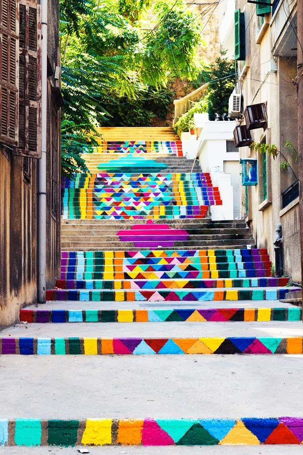 Painted Stairs in Beirut, Lebanon
