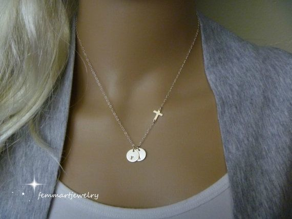 Sideways Cross Necklace – Initial Necklace – Two Initial Disc – Personalized Charm – Faith Charm – Mommy Necklace – Mother of the