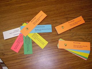 Set of cards and color code them by Blooms Level. Students can pick a question from each level. Click my picture below to snag