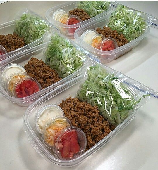 Taco salad meal prep…with reusable condiment cups..aint got time for that!