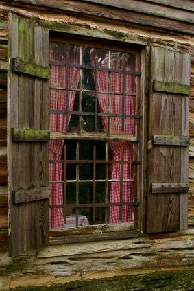 Log Cabin Window With Old Fashioned Shutters And Red And White Checkered Curtains Favorite