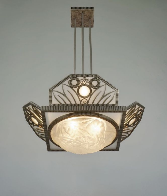 H Fournet Degue 1930 Chandelier In Wrought Iron By Le Fer Forgé F