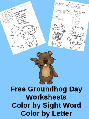 Free Groundhog Day worksheets! Color by letter and Color by Sight Word. Great for preschool or kindergarten. #education #learntoreadfree: