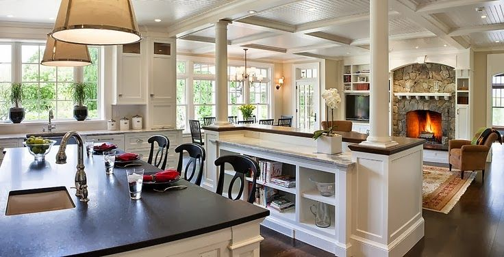 Open Concept Kitchen To Great Room. Beautiful Shelf