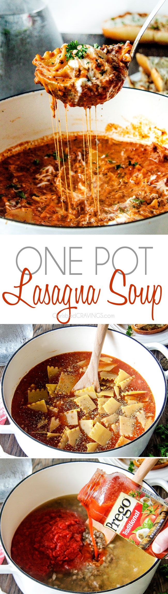 Easy One Pot Lasagna Soup tastes just like lasagna without all the layering or dishes! Simply brown your b