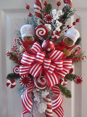 Xmas Swag Gingerbread Ornament Faux Candy Cane Ribbon Floral Decor not Wreath   eBay