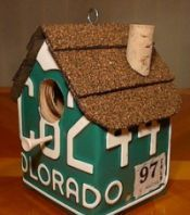 Bird house made from old license plates… May have to figure out how to do this one!