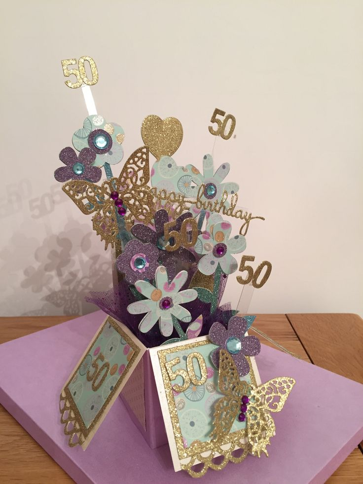 Tattered Lace Pop Up Box Card For A 50th Birthday Card