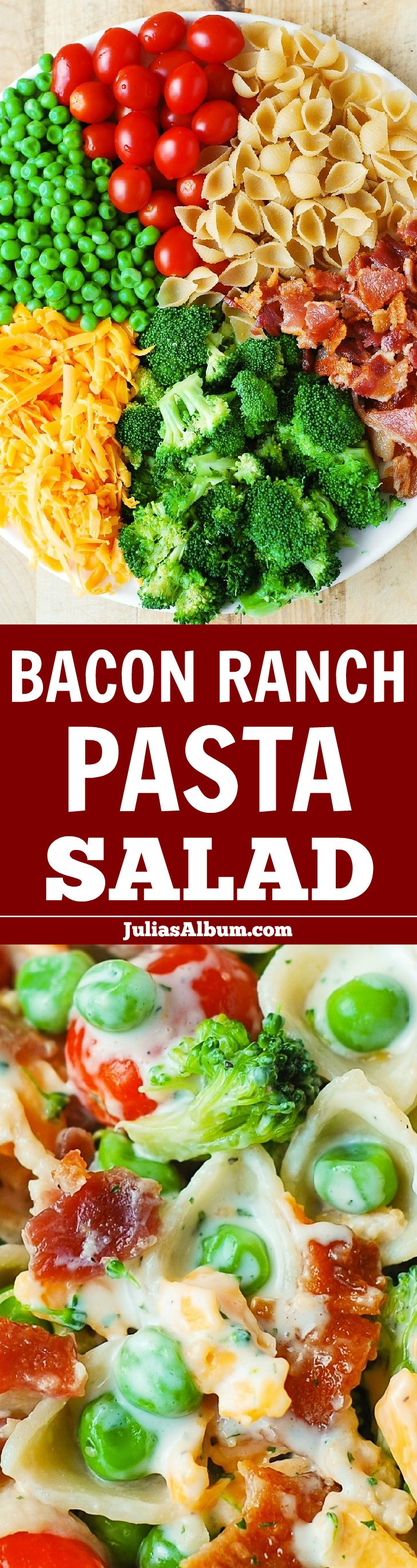 Bacon Ranch Pasta Salad – LOADED with veggies (broccoli, cherry tomatoes, sweet peas), sharp Cheddar cheese, pasta shells, and