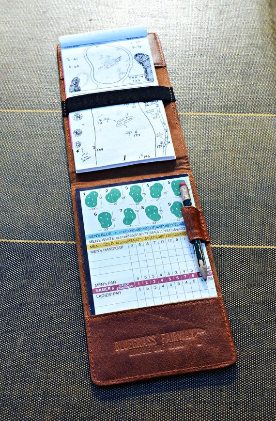 Personalized Handmade Leather Golf Scorecard Holder