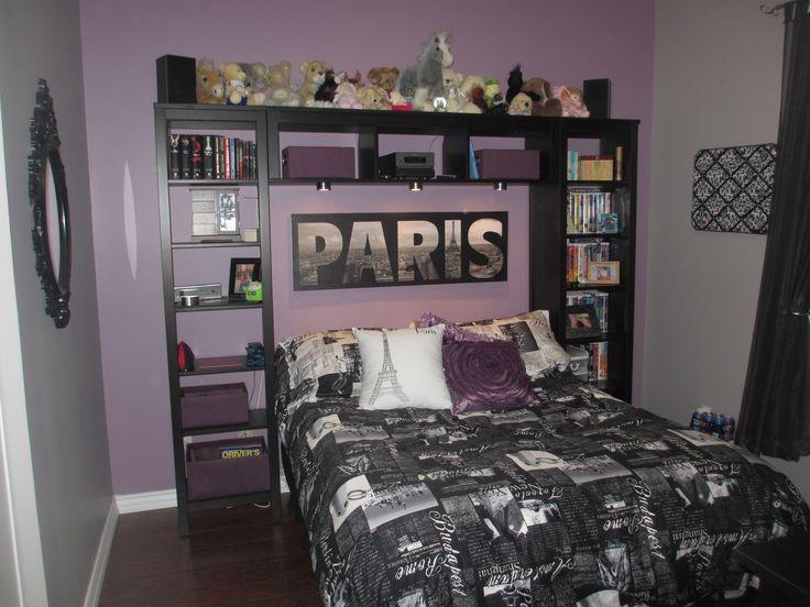 Purple And Grey Paris Themed Teen Bedroom Home Decor