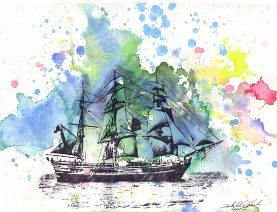 Sail Boat Ship Watercolor Painting Original 85 X 11 In Watercolor Painting Great Art For A