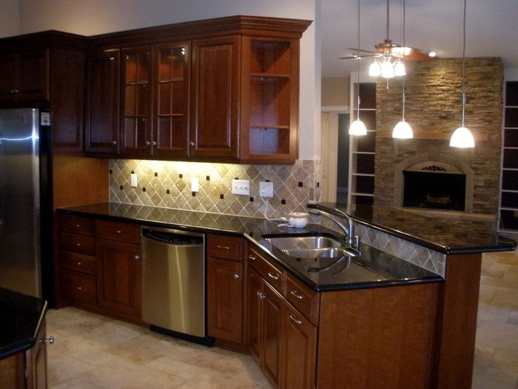 1000+ images about Cherry black granite kitchens on ... on Backsplash Ideas For Black Granite Countertops And Cherry Cabinets  id=67936