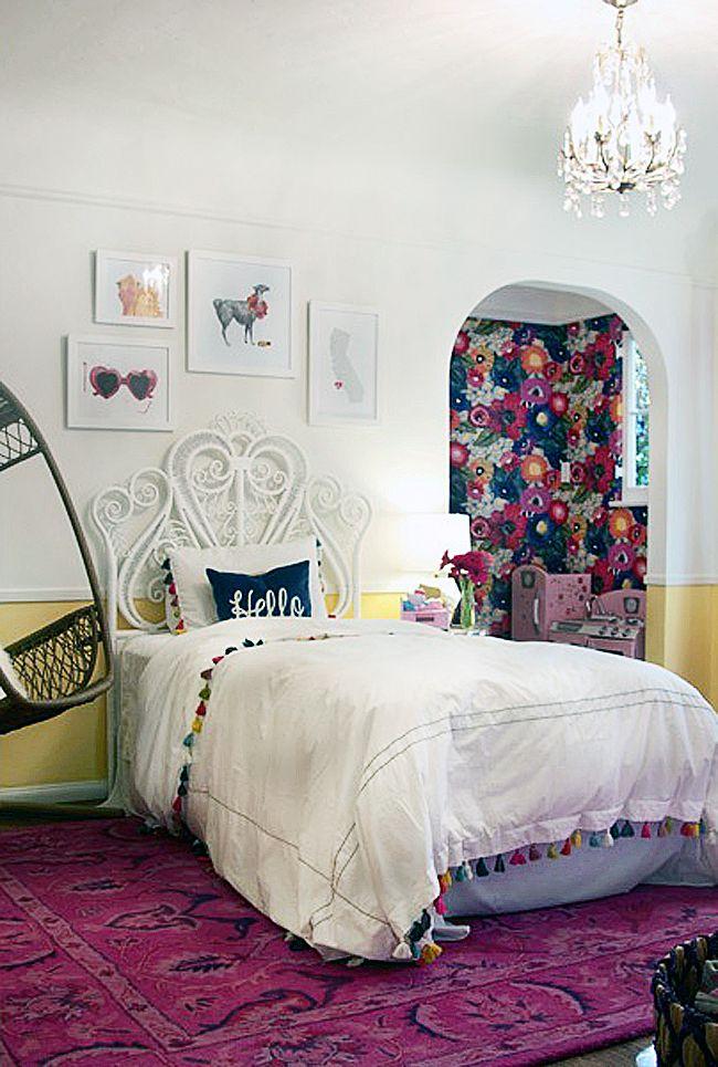 Tassel Bedding Rattan Headboard Floral Nook Hanging