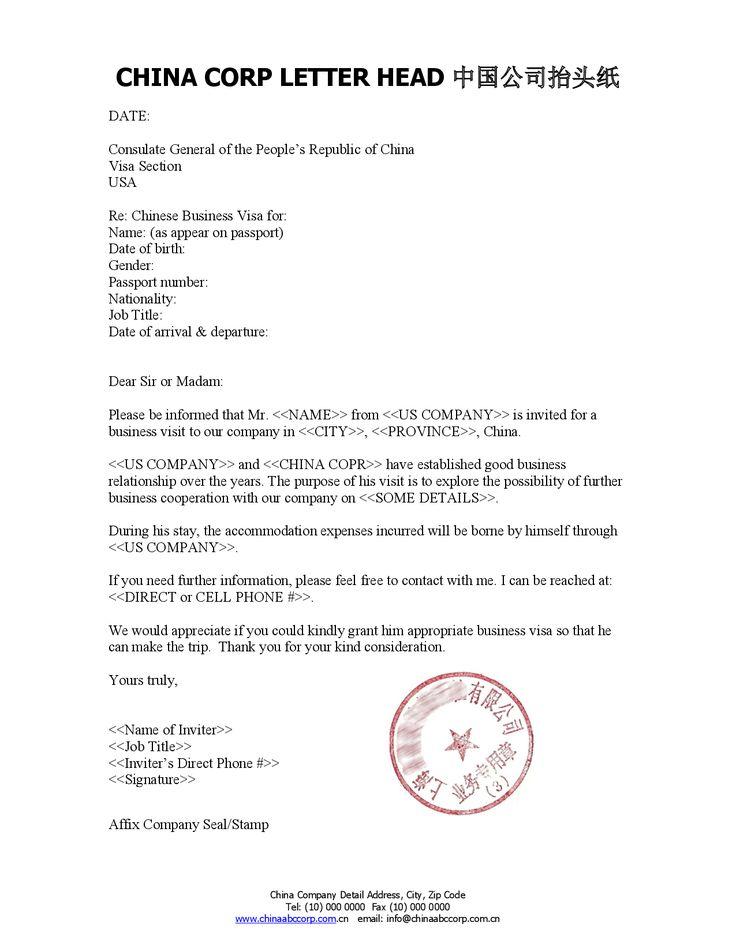 Format Invitation Letter For Business Visa To China LetterVisa Invitation Letter Application