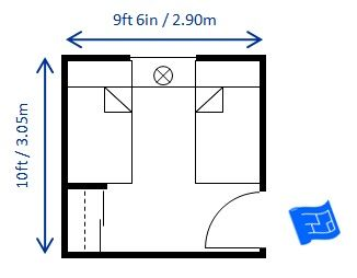 10ft X 9ft6ins Bedroom Size For Twin Beds Allows The Minimum Recommended E Between You Can See What A Diffe Door Placeme