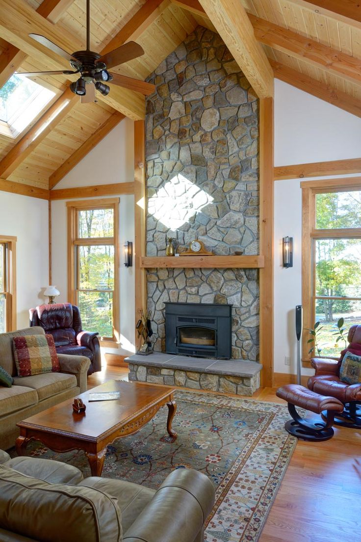 Family Room With Vaulted Ceiling And Stone Fireplace The
