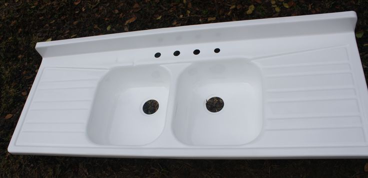 Large Ceramic Or Enameled Sinks With Drain Board 1950s