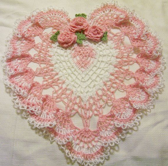 Pink And White Heart Lace Crocheted Doily Home Decor