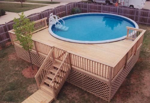 Small round above ground composite pool deck for small