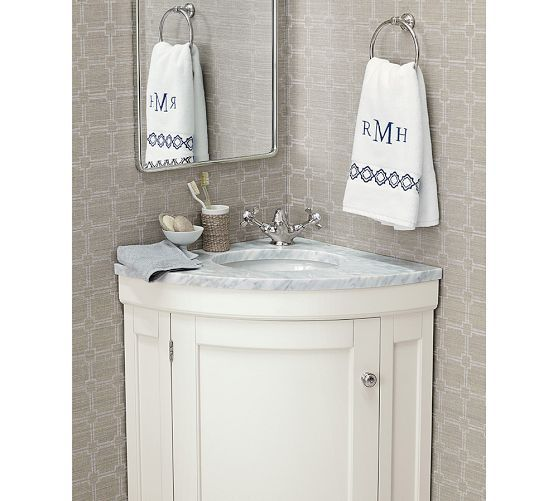 Vintage Recessed Medicine Cabinet | Pottery Barn – I love the little corner vanity.  Perfect for a tiny half bath.