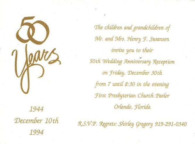 Wording For Fiftieth Wedding Anniversary Invitations – Anniversary Party Invitations Wording