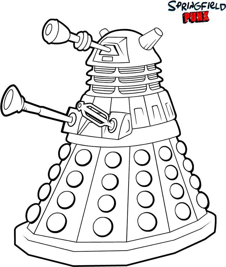 doctor who  coloring page dalek  geek parenting