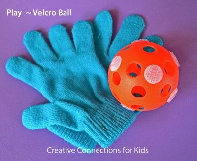 Velcro catch for the little one who is still practicing catch. Put Velcro stickers on a plastic ball and use regular gloves!