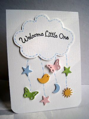 DIY baby card ,,, cloud mobile … cute!! … die cut cloud with sentiment … raining little punched butterflies, stars  & more